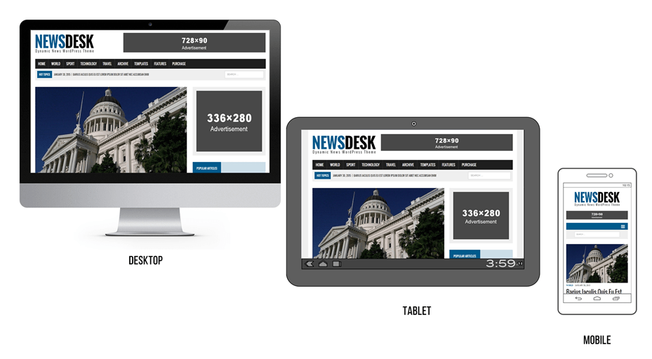 Responsive WordPress theme allows a seamless multi-device presence