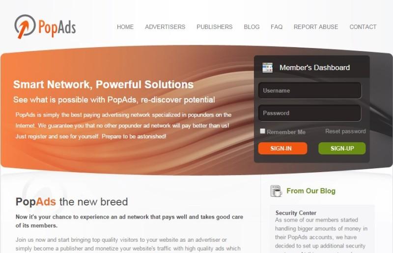 AdSense Alternatives: PopAds