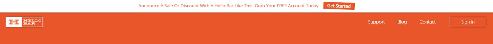 top bar pop-up example