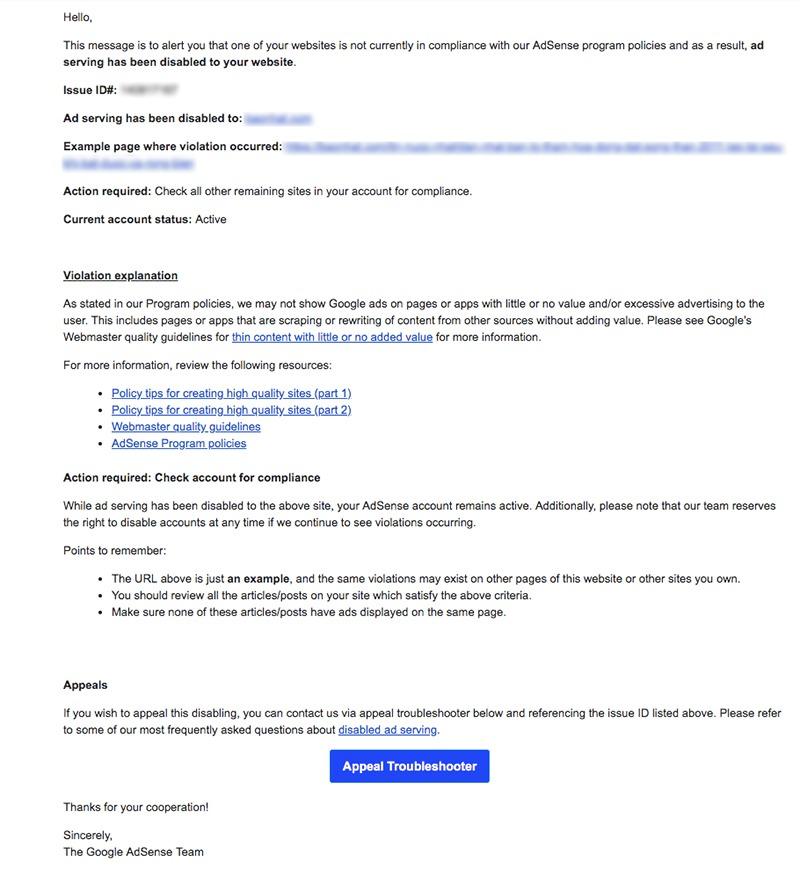 AdSense policy violation warning