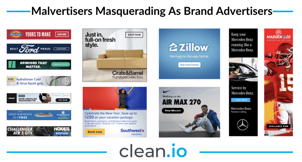Malvertising creatives that look like normal ads